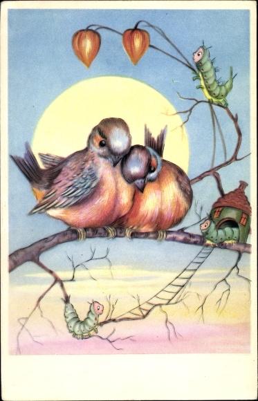 Künstler Ak Zwei Vögel und Raupen auf einem Ast, Raupenhaus