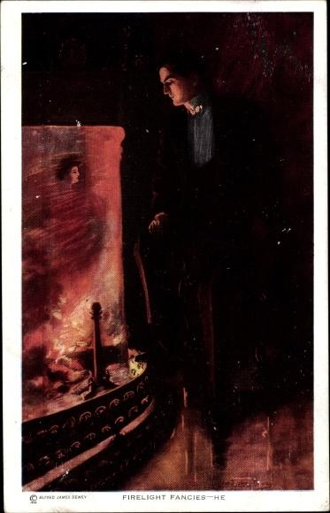 Künstler Ak Dewey, Alfred James, Fireligth Fancies, Mann sieht Frauenportrait im Feuerschein