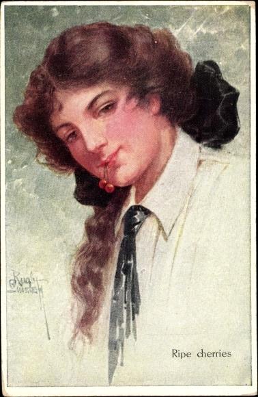 Künstler Ak Gnischaf, Ruab, Ripe cherries, Portrait einer brünetten jungen Frau mit Kirschen im Mund