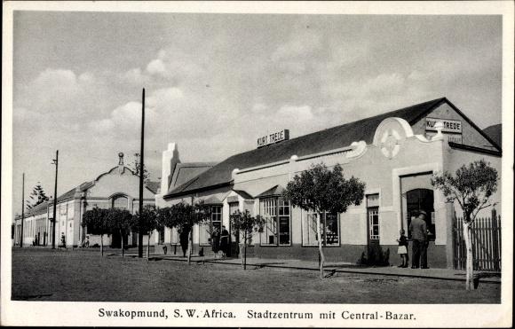 Ak Swakopmund Deutsch Südwestafrika Namibia, Stadtzentrum mit Central Bazar, Kurt Trede