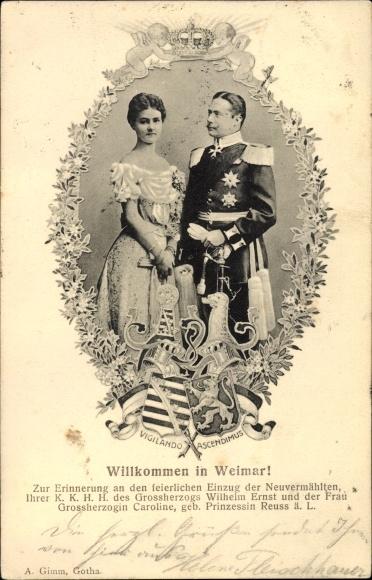 Ak Großherzog Wilhelm Ernst von Reuss ä.L., Großherzogin Caroline, Vermählung