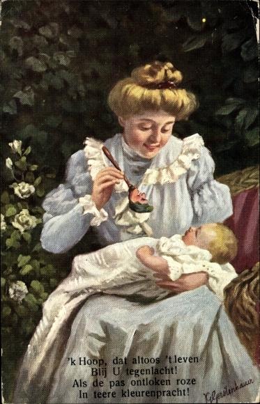 Künstler Ak Gerstenhauer, Johann Georg, Frau mit Baby, Rassel