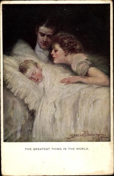 Künstler Ak Underwood, Clarence, The greatest thing in the world, Eltern betrachten schlafendes Baby