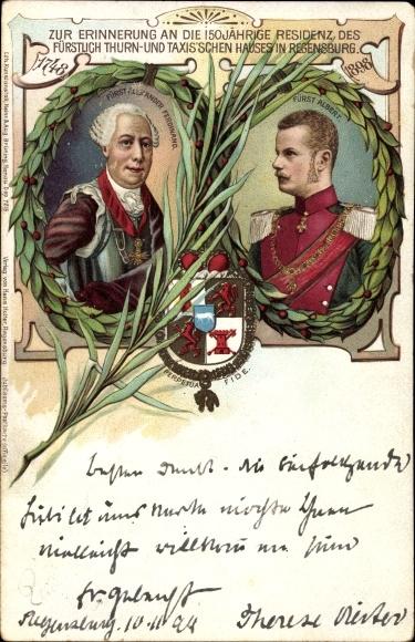 Wappen Litho 150jh Residenz des Fürstl. Thurn & Taxis'schen Hauses in Regensburg, Fürst Albert