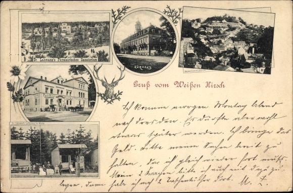 Ak Dresden Nordost Weißer Hirsch, Dr. Lahmann's Physiatrisches Sanatorium, Kurhaus, Drahtseilbahn
