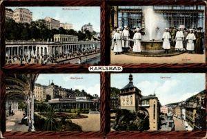 Ak Karlovy Vary Karlsbad Stadt, Mühlbrunnen, Sprudel, Stadtpark, Teilansicht