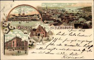 Litho Flensburg in Schleswig Holstein, Dampfschiffpavillon, Nordertor, Theater, Panorama