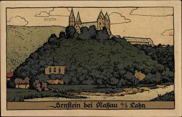 Steindruck Ak Obernhof im Rhein Lahn Kreis, Kloster Arnstein