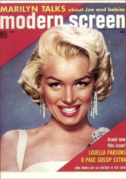 Ak Schauspielerin Marilyn Monroe, Portrait, Titelseite der Zeitschrift Modern Screen