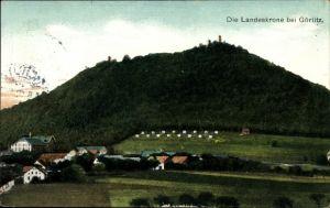 Ak Görlitz in der Lausitz, Blick zur Landeskrone, Teilansicht vom Ort