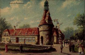 Künstler Ak Hamburg, Seefisch Restaurant, Architekt H. Schomburgk, 16. Deutsches Bundesschießen