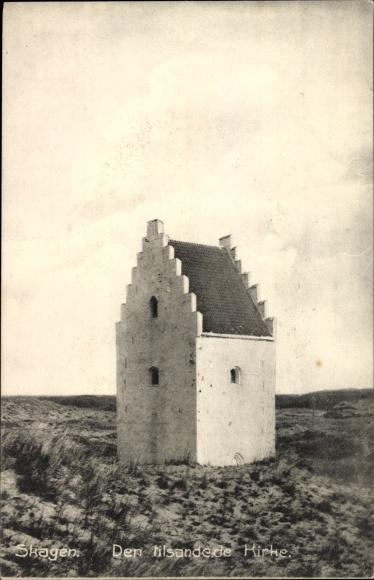 Ak Skagen Frederikshavn Dänemark, Den tilsandede Kirke, Die versandete Kirche St. Laurentius