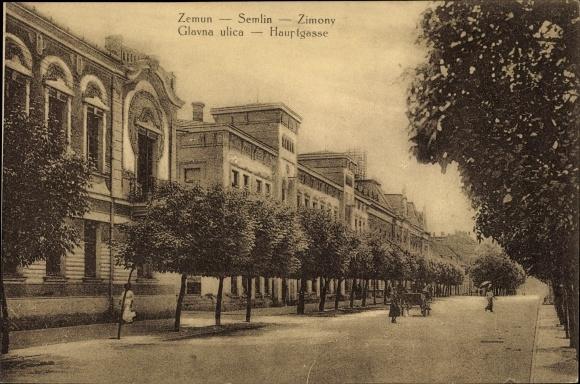 Ak Zemun Semlin Belgrad Beograd Serbien, Glavna ulica, Hauptgasse