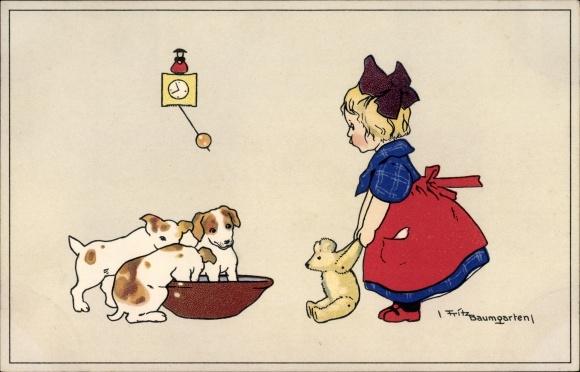 Künstler Ak Baumgarten, Fritz, Mädchen mit einem Teddybären, Hundewelpen, Meissner Buch 2230