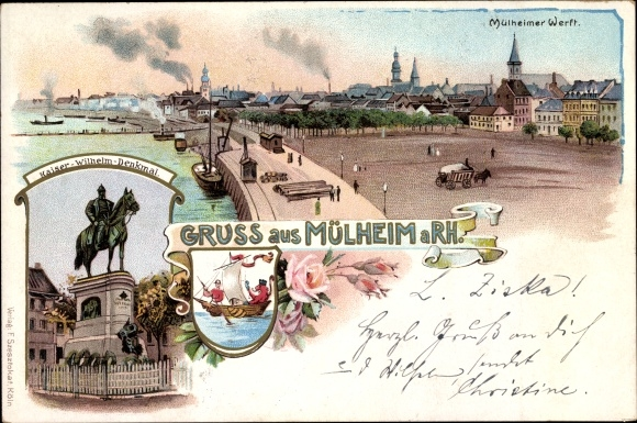 Wappen Litho Mülheim Köln Nordrhein Westfalen, Mülheimer Werft, Kaiser Wilhelm Reiterdenkmal