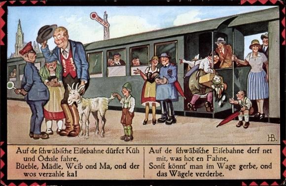 Künstler Ak Boettcher, Hans, Auf de schwäbische Eisebahne, Ziegenbock, Reisende, Schaffner
