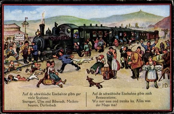 Künstler Ak Boettcher, Hans, Auf de schwäbische Eisebahne, Reisende, Schaffner, Dackel, Bahnsteig