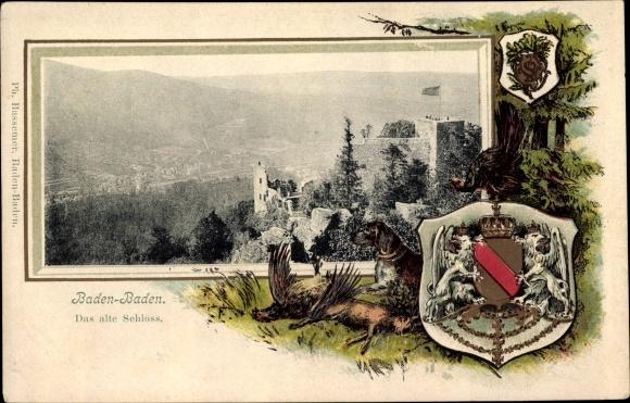 Präge Wappen Passepartout Ak Baden Baden im Stadtkreis Baden Württemberg, Blick auf das alte Schloss