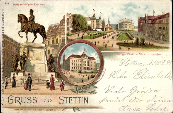 Litho Szczecin Stettin Pommern, Kaiser Wilhelm Reiterdenkmal, Königsplatz, Stadttheater