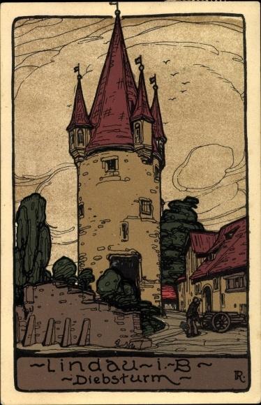 Steindruck Ak Lindau in Bodensee Schwaben, Blick auf den Diebsturm, Mann mit Karren