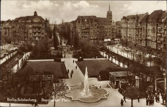 Ak Berlin Schöneberg, Partie am Bayerischen Platz, Kiosk, Parkanlage