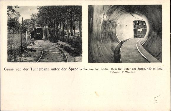 Ak Berlin Treptow, Tunnelbahn unter der Spree, Bahnstrecke