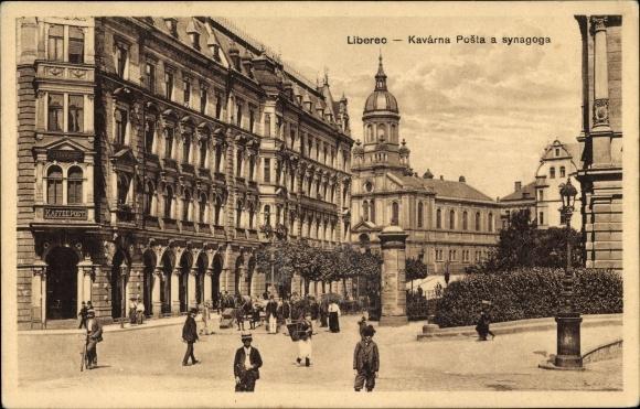 Judaika Ak Liberec Reichenberg Stadt, Kavarna Posta a synagoga, Synagoge
