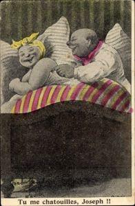 Künstler Ak Tu me chatouilles, Joseph, Mann und Frau im Bett, Mann kitzelt Frau