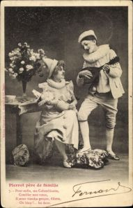 Ak Pierrot père de famille, Pierrette mit Baby, Clown mit Musikinstrument
