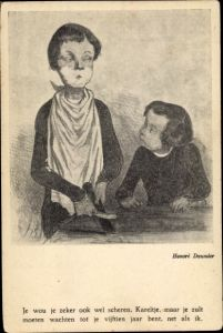 Künstler Ak Daumier, Honoré, Mann mit Rasierschaum im Gesicht wetzt die Rasierklinge