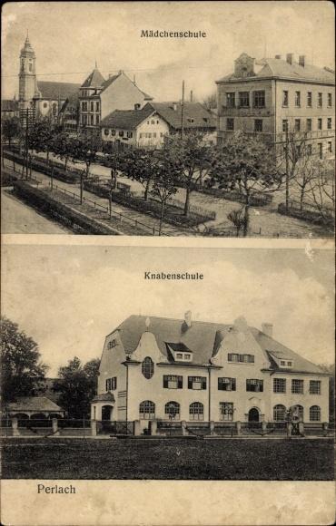 Ak Perlach München Bayern, Mädchenschule, Knabenschule, Kirche