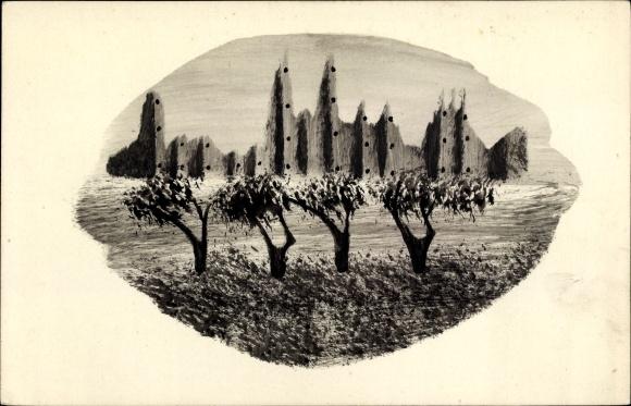 Handgemalt Ak Landschaftsansicht mit vier Bäumen und schemenhaften Gebäuden
