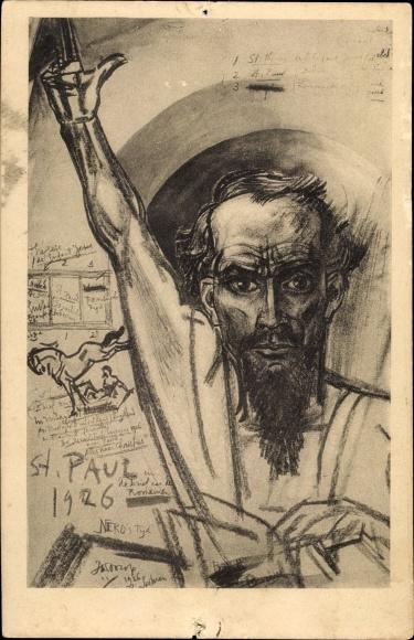 Künstler Ak Toorop, Jan, St. Paul, Portrait von einem Mann mit Bart