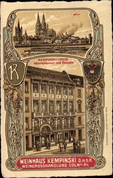 Wappen Litho Köln am Rhein, Kempinski Haus, Weinrestaurant und Festsäle, Dom, Dampfer