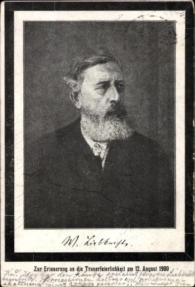 Ak Wilhelm Liebknecht, SPD Gründervater, Vater von Karl Liebknecht, Portrait, Trauerkarte, 12.8.1900