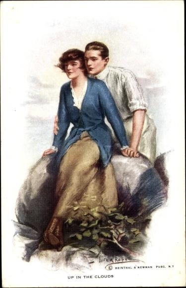 Künstler Ak Up in the clouds, Liebespaar, Frau auf einem Stein sitzend, Mann umarmt sie von hinten