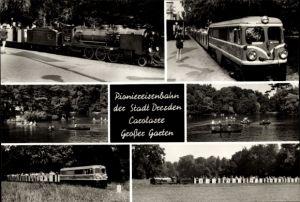 Ak Dresden Altstadt, Großer Garten, Pioniereisenbahn, Liliputbahn, Dampflok, Carolasee