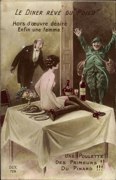 Künstler Ak Le Diner Reve du Poilu, Une Poulette, nackte Frau auf dem Esstisch