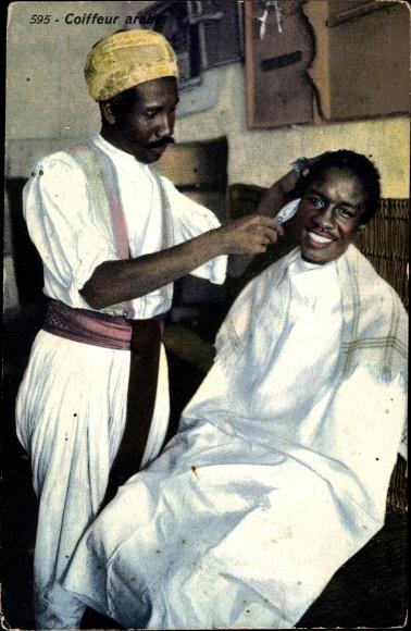 Ak Coiffeur arabe, arabischer Friseur, Barbier, Umhang, Lehnert Landrock