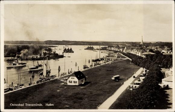 Ak Travemünde Lübeck Schleswig Holstein, Hafenansicht, Panorama
