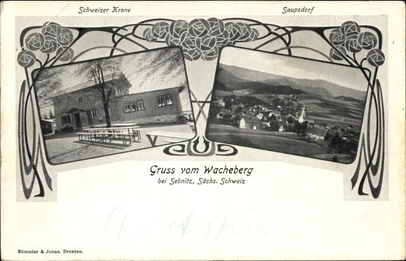 Ak Saupsdorf Sebnitz in Sachsen, Wacheberg, Schweizer Krone, Panorama vom Ort