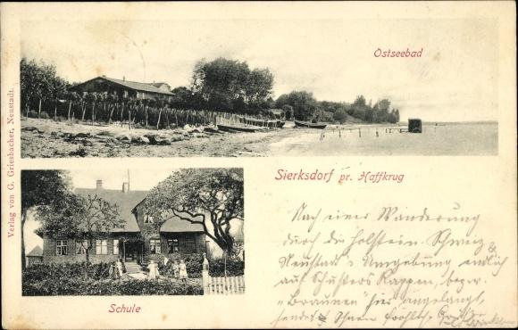 Ak Sierksdorf in Ostholstein, Schule, Strandpartie, Badekarren