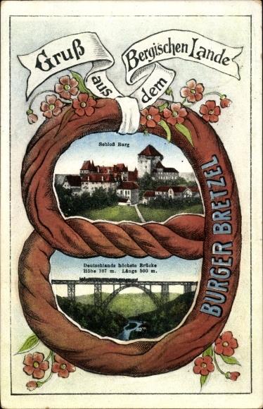 Passepartout Ak Burg an der Wupper Solingen Ruhrgebiet, Burger Bretzel, Schloss Burg, Brücke