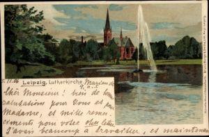 Litho Leipzig in Sachsen, Die Lutherkirche, Fontäne, Bruno Bürger & Ottilie