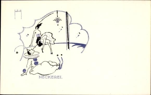 Künstler Ak Pernitsch, Leo, Pierrot, Junge Frau, Verehrer, 105 Nr 1