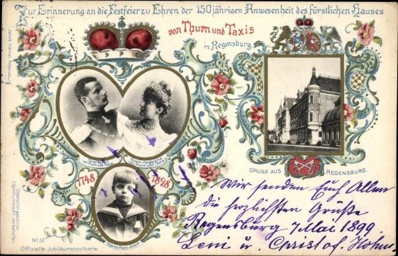 Ganzsachen Ak Fürst Albert von Thurn und Taxis, Fürstin Margaretha, Erbprinz Franz Joseph, Jubiläum