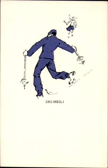 Künstler Ak Pernitsch, Leo, Skifahrer, Ski Heil, 104 Nr 2