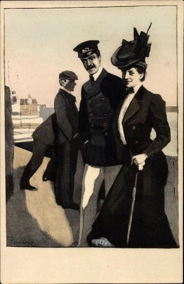 Künstler Ak Reznicek, Ferdinand von, Simplicissimus Karte Serie VII Nr 4, Liebespaar