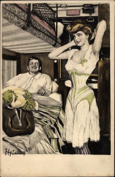 Künstler Ak Reznicek, Ferdinand von, Simplicissimus Karte Serie VII Nr 2, Liebespaar im Zugabteil