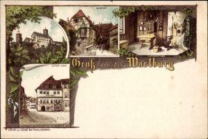 Litho Lutherstadt Eisenach in Thüringen, Wartburg, Burghof, Lutherstube, Luther Haus